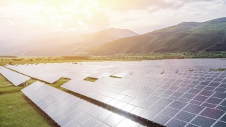 Environment Conservation Solar Panel Farm Aerial Flight At Sunset Green Energy Technology Concept