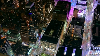Aerial New York City Skyscrapers Illuminated Modern Night Footage Famous Travel Manhattan Building Tourism USA Drone Timelapse Crowded