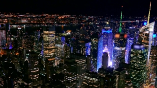 Illuminated Cityscape Aerial Drone Footage Skyscrapers Manhattan New York City Modern Night Famous Buildings Travel Tourism Crowded USA