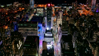 Aerial Drone Footage Illuminated Cityscape Skyscrapers Manhattan New York City Modern Tourism Night Famous Buildings Travel USA Crowded