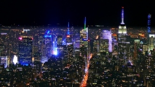Drone Footage New York Cityscape Illuminated Skyscrapers Modern Night Famous Travel Tourism Empire State Building Manhattan USA Crowded