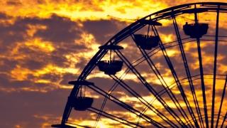 Santa Monica Pier Beach Sunset People Nature California Sea Ferris Wheel Tourists Los Angeles Timelapse Orange Tourism Travel Destination Sky