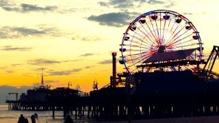Santa Monica Pier Ferris Wheel Beach Sunset Nature Sky California Sea Los Angeles Timelapse Tourism Travel Destination 4K UHD Sky