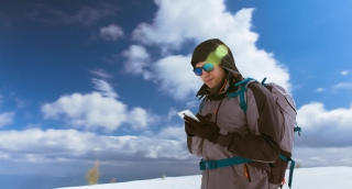 Phone Snow Winter Mobile Nature Jacket Ice Sky Park Portrait Cold People Mountaineer Travel Black Technology Talk Adventure Expedition Man Russia Hat Cap Talking One Cell Men Call Accident Gps Callbac