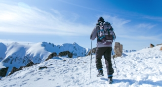 Snow Hiker Hiking Adventure Mountain Travel Outdoor Trekking Extreme Sport Cold Active Ice Winter Landscape Sky Backpacker Nature People Trek Mountaineering Hike Climbing High Summit Activity Climber