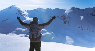 Hand Silhouette Person Sport Fitness Winter Man Nature Winter Sun Arms Success Freedom Sky Top Mountain Achievement Outdoor Travel Blue People Summit Free Adventure Happiness Climbing Victory Hiking H