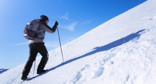 Mountain Hiker Climbing Adventure Success Top Snow Man Climber Hiking Travel Sky Extreme Peak Victory Climb Mountaineering Summit Strength High Blue Motivation Alone Sport Outdoor Courage Active Goal