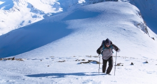 Mountain Climbing Adventure Success Top Snow Man Climber Hiking Travel Sky Extreme Peak Victory Climb Mountaineering Hiker Summit Strength High Blue Motivation Alone Sport Outdoor Courage Active Goal