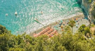 Aerial View Tropical Beach Island Blue Water Sea Ocean Tourists Heaven Vacation Uhd 4K