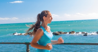 Pretty Young Woman Running Jogging Beach Coast Summer Waterfront Ocean Fit Lifestyle Uhd 4K