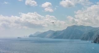 Rescue Chopper Battling Forest Fire Water Jet Flying Mountain Smoke Sea Ocean Summer Day Disaster Emergency Uhd 4K