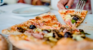 Pizza Cutting Close Up Italian Cuisine Food Unhealthy Crispy Delicious Restaurant Fork Knife Italy Prosciutto Olives Melted Cheese Mozzarella Crust Traditional Vacation Holiday Europe Calories HD