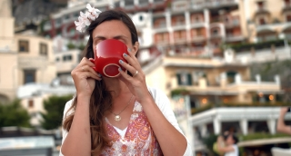 Beautiful Young Female Drinking Coffee Restaurant Cafe Romantic Getaway Destination Travel Europe Summer Beach Warmth Nostalgia Pensive Position Italy Carefree Joy Happiness Pleasure Uhd 4K