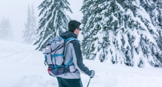 Tree Person Sport Man Nature Face Winter Snow Hiking Blizzard Cold Trekking Walking Male People Mountain Backpack Activity Extreme Hike Storm