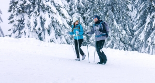 Nature Hiking Winter Woman Adventure Walking Snowy Exploring Snow Lifestyle Couple Female Hiker Trekking Outdoors Together Caucasian Man Travel Vacation Happy Hike People Beautiful Landscape Male Youn