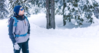 Winter Backpacker Landscape Looking Lost Male Snow Man Backpack Travel Tourist Holding Mountain Hiker Search Hiking Adventure Hike Course Mountaineer Guide Route Trekking Equipment Climber Orientation