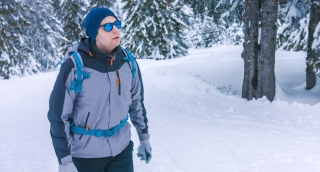 Travel Lost Male Winter Snow Man Backpack Tourist Holding Hiker Hike Standing Outdoors Nature Person Search Hiking Adventure Course Mountaineer Guide Route Trekking Equipment Climber Orientation Direc