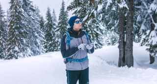 Winter Backpacker Landscape Looking Travel Lost Male Snow Man Backpack Tourist Holding Hiker Hike Standing Outdoors Nature Person Search Hiking Adventure Course Mountaineer Guide Route Trekking Equipm