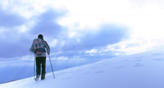 Hiking Winter Mountain Snow Outdoor Cold Adventure White Travel Walk Sport Success Snowy Activity Climbing Mountaineer Male People Ice Person Sky Man Alone Ski Summit Brave Guy Hiker Boy Self-Realizat