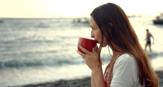 Beautiful Young Woman Drinking Coffee Beach Sea Shore View Boats Pier Relaxed Relaxing Vacation Holiday Freedom Lifestyle Travel Uhd 4K