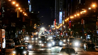 Illuminated City Street New York Manhattan Night Road USA Footage Busy Traffic Transportation Car Crowded Connection Buildings Taxi Lighting