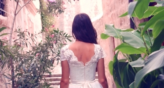Vintage Princess Wedding Dress Gorgeous Beautiful Bride Woman Walking Botanical Garden Medieval Fortress Castle Turning Smiling Young Love Romance Wedding Sunlight Sunset Beauty Uhd 4K