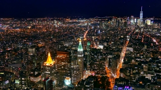 Aerial Drone Footage Illuminated New York City Skyscrapers Manhattan Modern Night Travel Famous Buildings Tourism USA Crowded